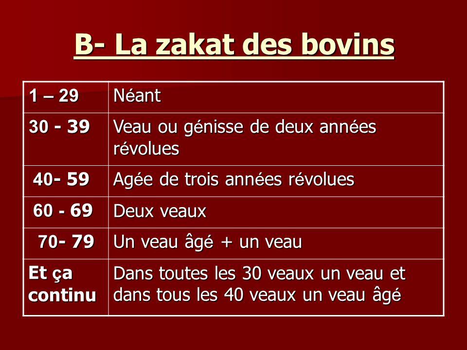 B- La zakat des bovins N é ant 29 – 1 29 – 1 29 – 1 29 – 1 Veau ou g é nisse de deux ann é es r é volues - 39 30 Ag é e de trois ann é es r é volues 40 - 59 Deux veaux - 60 69 Un veau âg é + un veau 70 - 79 Dans toutes les 30 veaux un veau et dans tous les 40 veaux un veau âg é Et ç a continu