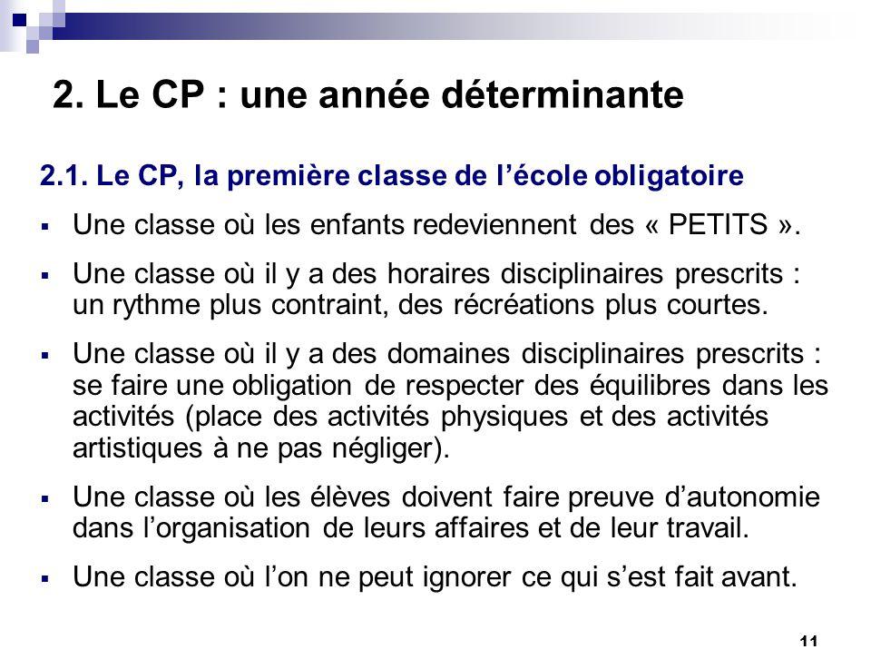 11 2. Le CP : une année déterminante 2.1. Le CP, la première classe de lécole obligatoire Une classe où les enfants redeviennent des « PETITS ». Une c