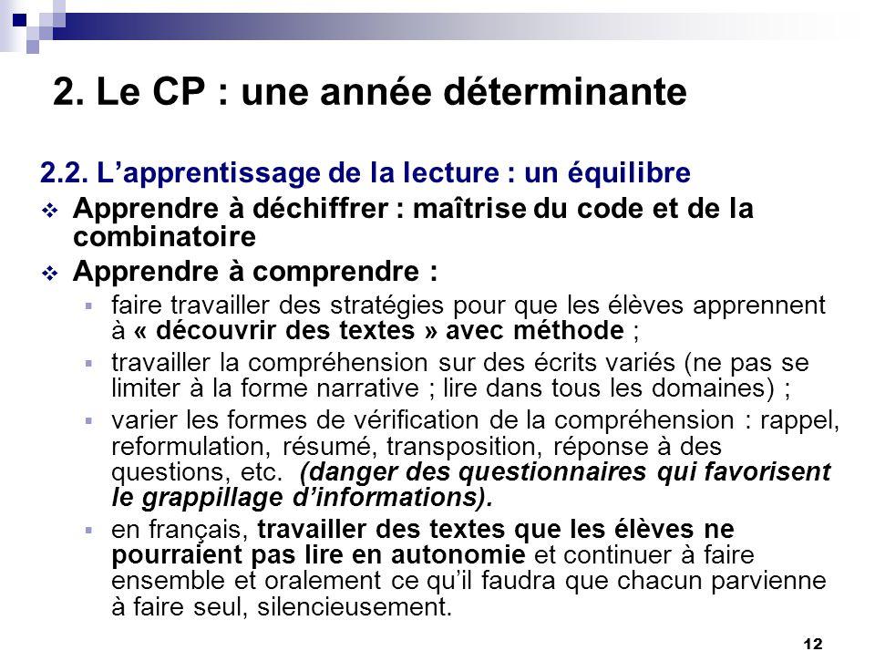 12 2. Le CP : une année déterminante 2.2. Lapprentissage de la lecture : un équilibre Apprendre à déchiffrer : maîtrise du code et de la combinatoire