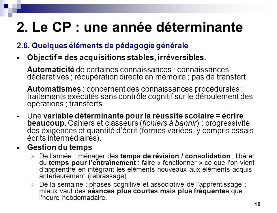 16 2. Le CP : une année déterminante 2.6. Quelques éléments de pédagogie générale Objectif = des acquisitions stables, irréversibles. Automaticité de