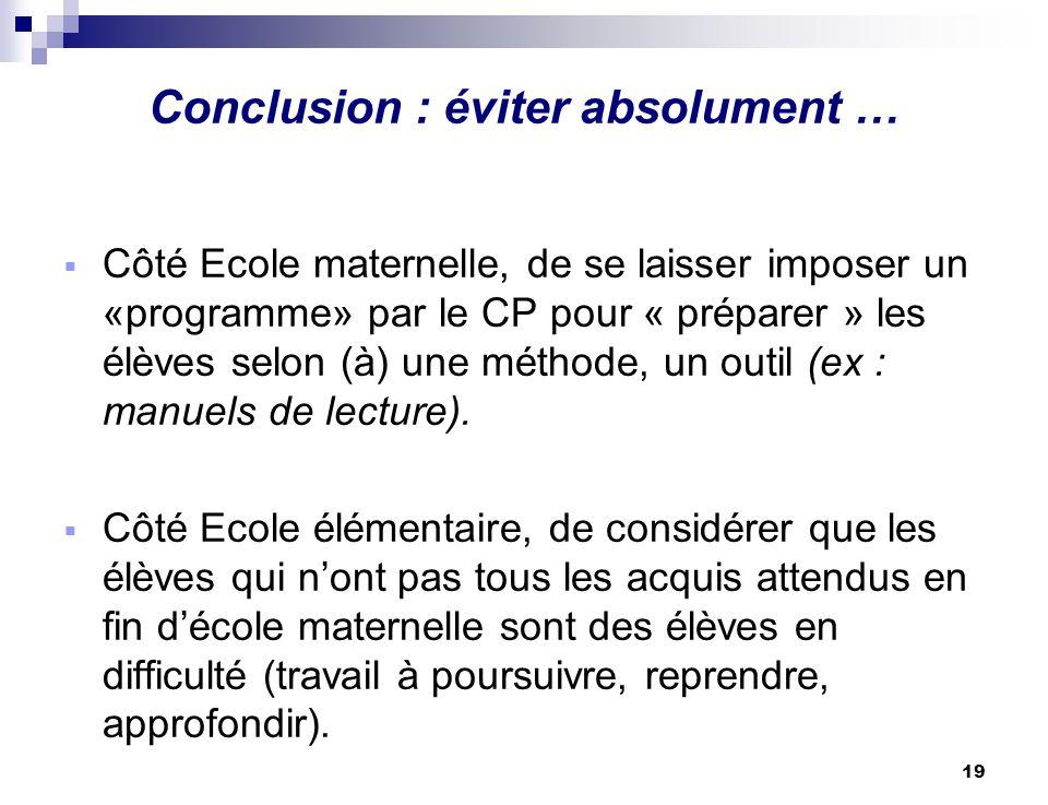 19 Conclusion : éviter absolument … Côté Ecole maternelle, de se laisser imposer un «programme» par le CP pour « préparer » les élèves selon (à) une m