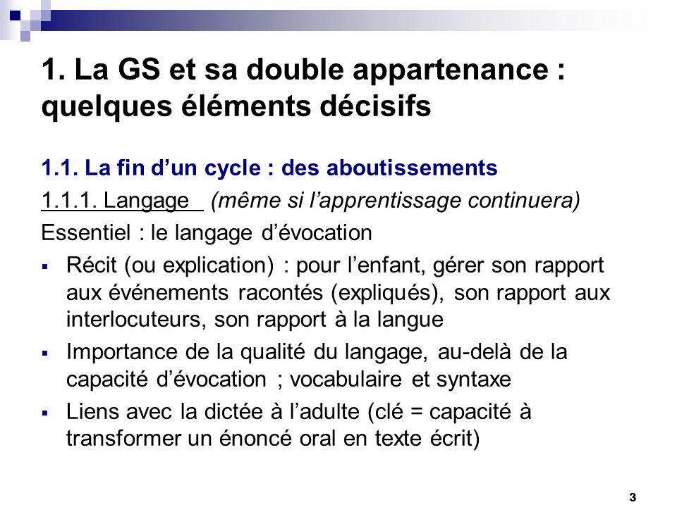 3 1. La GS et sa double appartenance : quelques éléments décisifs 1.1. La fin dun cycle : des aboutissements 1.1.1. Langage (même si lapprentissage co
