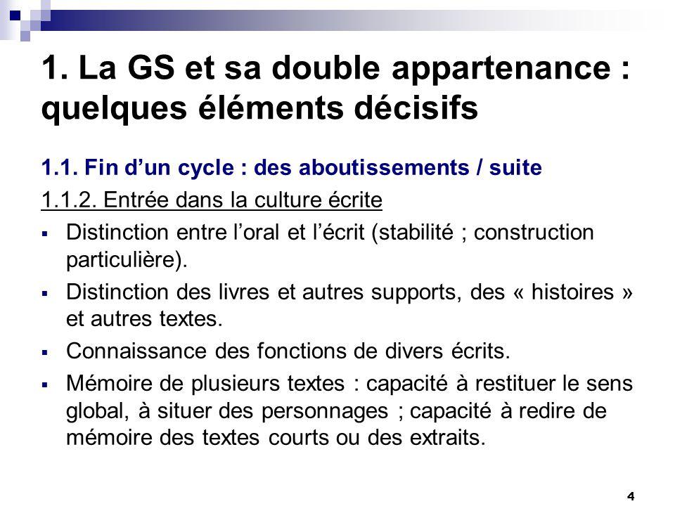 4 1. La GS et sa double appartenance : quelques éléments décisifs 1.1. Fin dun cycle : des aboutissements / suite 1.1.2. Entrée dans la culture écrite