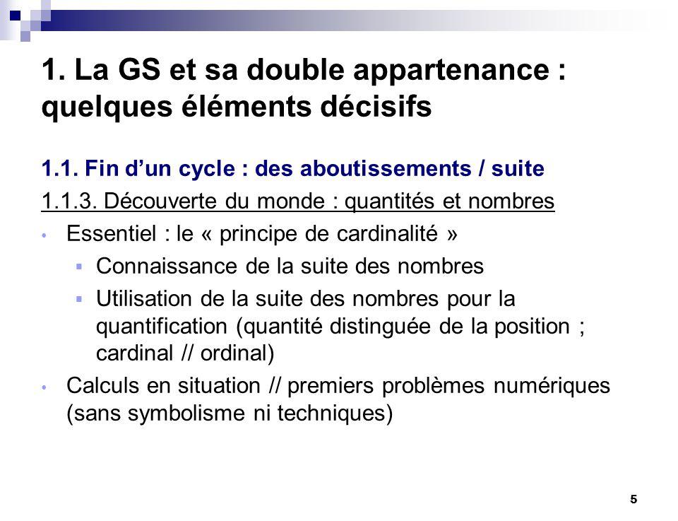 5 1. La GS et sa double appartenance : quelques éléments décisifs 1.1. Fin dun cycle : des aboutissements / suite 1.1.3. Découverte du monde : quantit