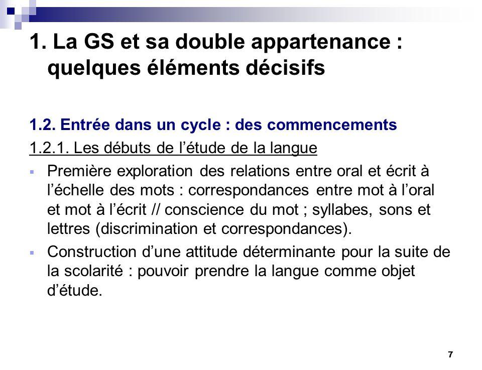 7 1. La GS et sa double appartenance : quelques éléments décisifs 1.2. Entrée dans un cycle : des commencements 1.2.1. Les débuts de létude de la lang