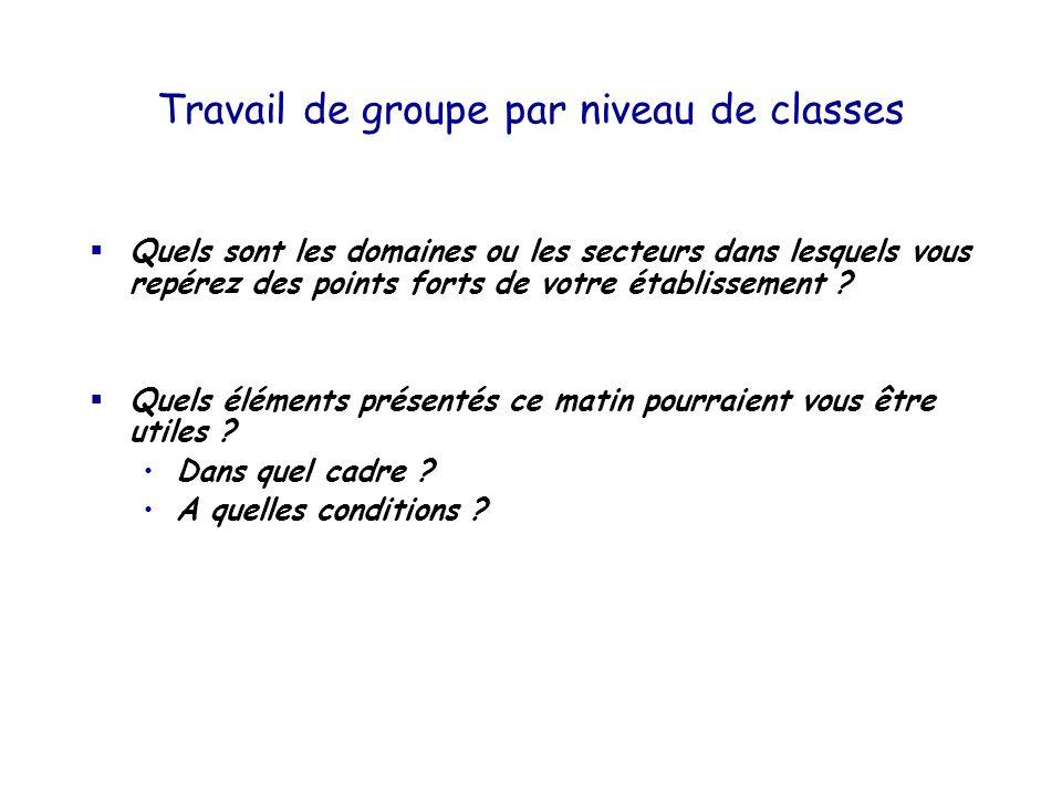 Travail de groupe par niveau de classes Quels sont les domaines ou les secteurs dans lesquels vous repérez des points forts de votre établissement ? Q