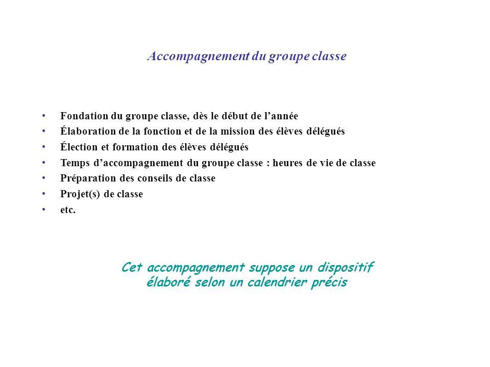 Accompagnement du groupe classe Fondation du groupe classe, dès le début de lannée Élaboration de la fonction et de la mission des élèves délégués Éle