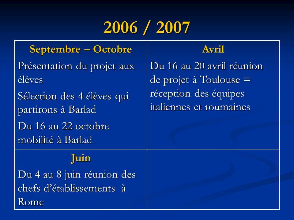 2006 / 2007 Septembre – Octobre Présentation du projet aux élèves Sélection des 4 élèves qui partirons à Barlad Du 16 au 22 octobre mobilité à Barlad