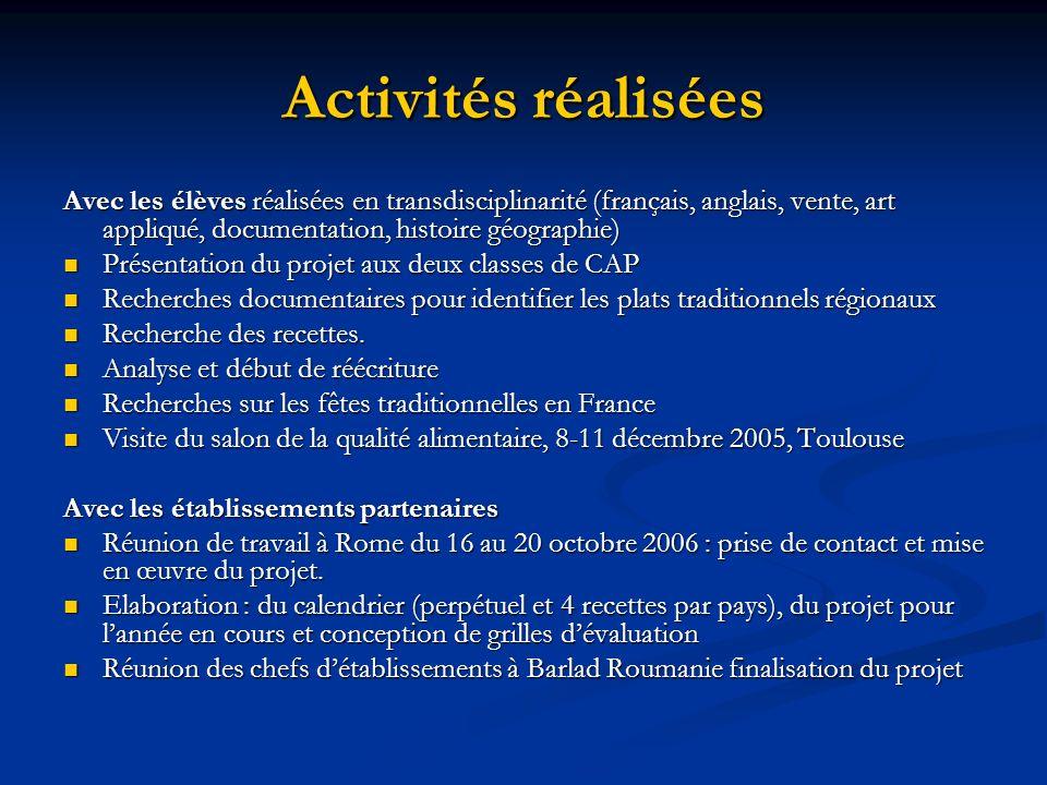 Activités réalisées Avec les élèves réalisées en transdisciplinarité (français, anglais, vente, art appliqué, documentation, histoire géographie) Prés