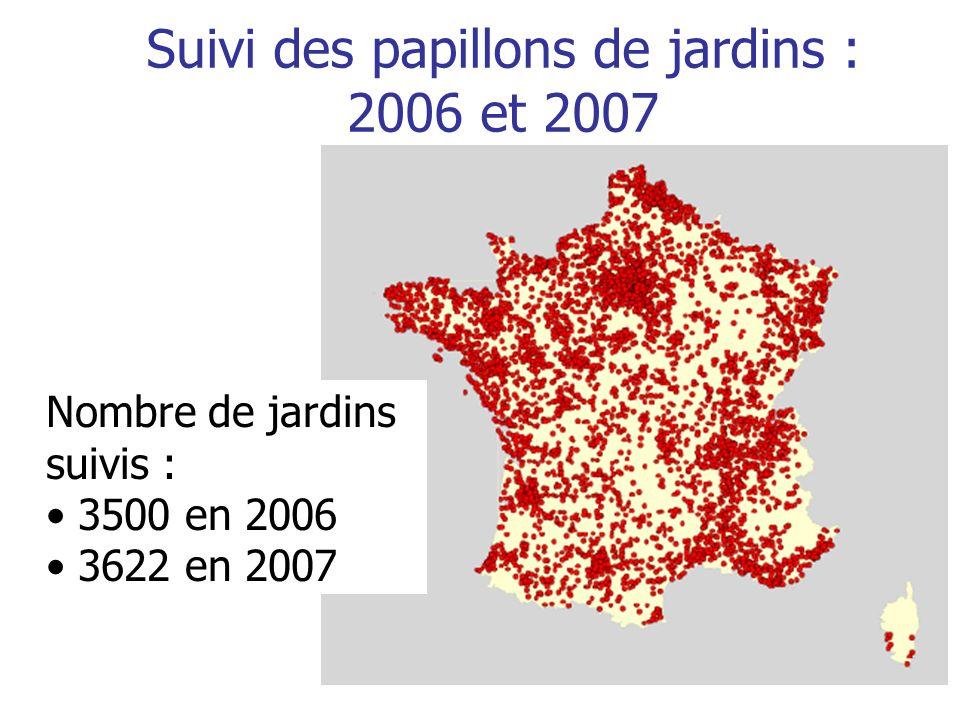 Suivi des papillons de jardins : 2006 et 2007 Nombre de jardins suivis : 3500 en 2006 3622 en 2007
