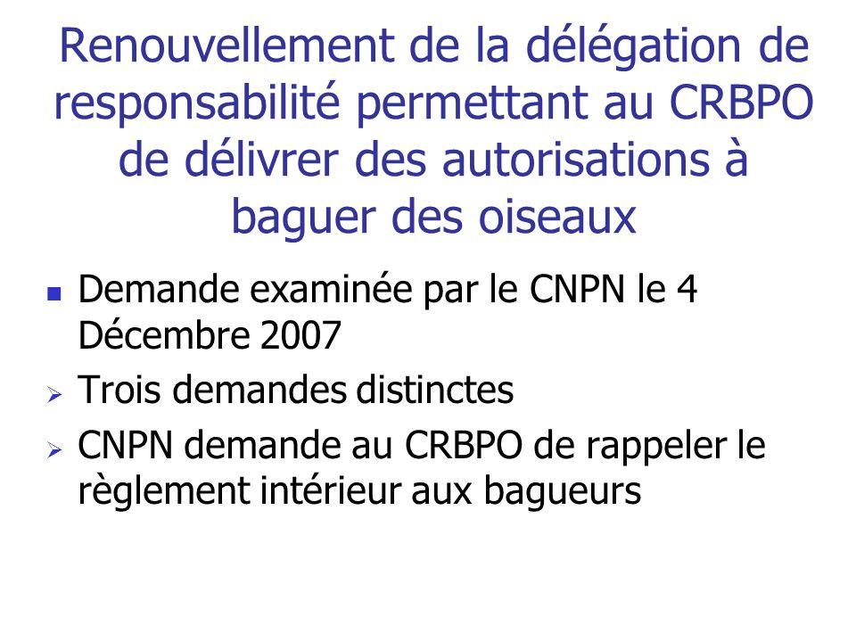Renouvellement de la délégation de responsabilité permettant au CRBPO de délivrer des autorisations à baguer des oiseaux Demande examinée par le CNPN