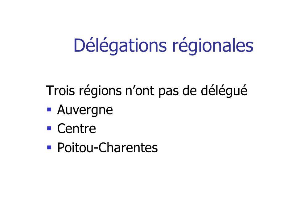 Délégations régionales Trois régions nont pas de délégué Auvergne Centre Poitou-Charentes