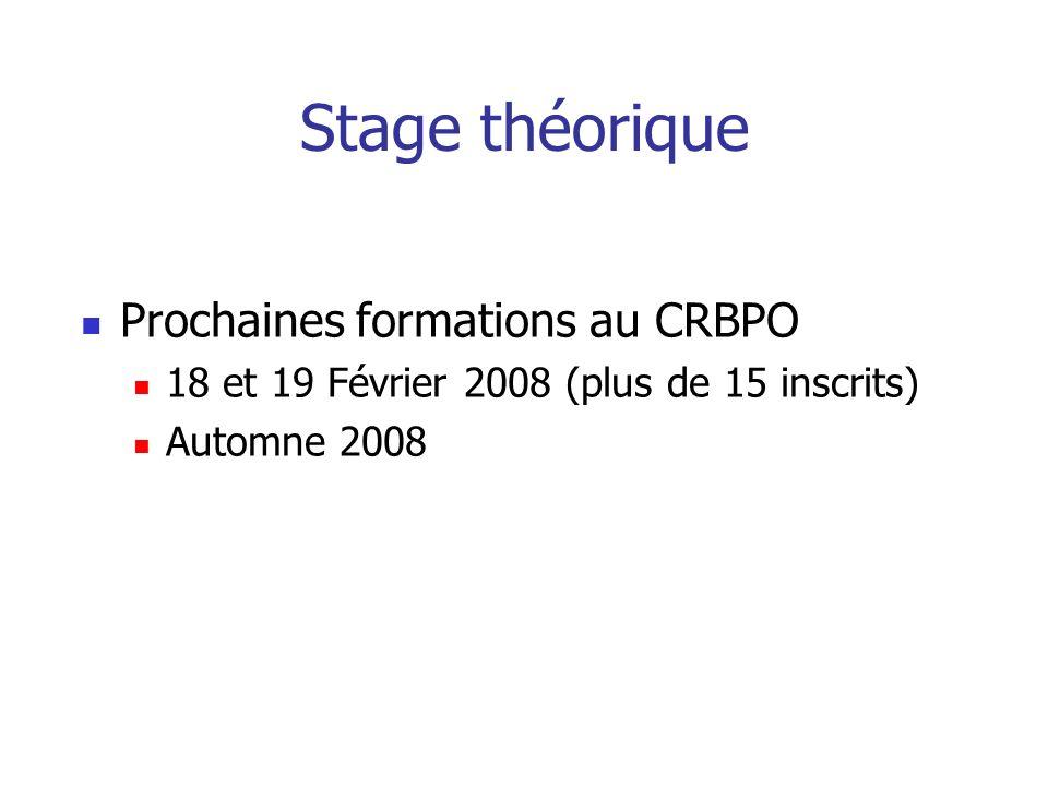 Stage théorique Prochaines formations au CRBPO 18 et 19 Février 2008 (plus de 15 inscrits) Automne 2008