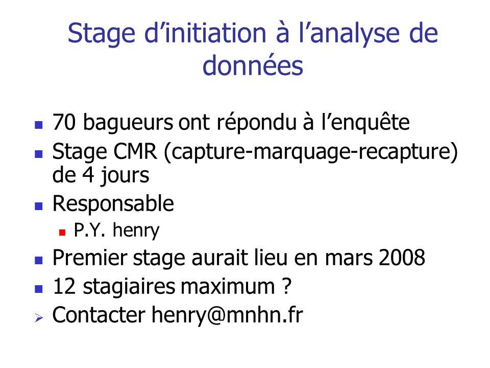 Stage dinitiation à lanalyse de données 70 bagueurs ont répondu à lenquête Stage CMR (capture-marquage-recapture) de 4 jours Responsable P.Y. henry Pr