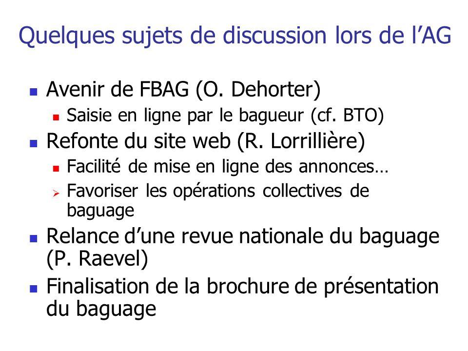 Quelques sujets de discussion lors de lAG Avenir de FBAG (O. Dehorter) Saisie en ligne par le bagueur (cf. BTO) Refonte du site web (R. Lorrillière) F