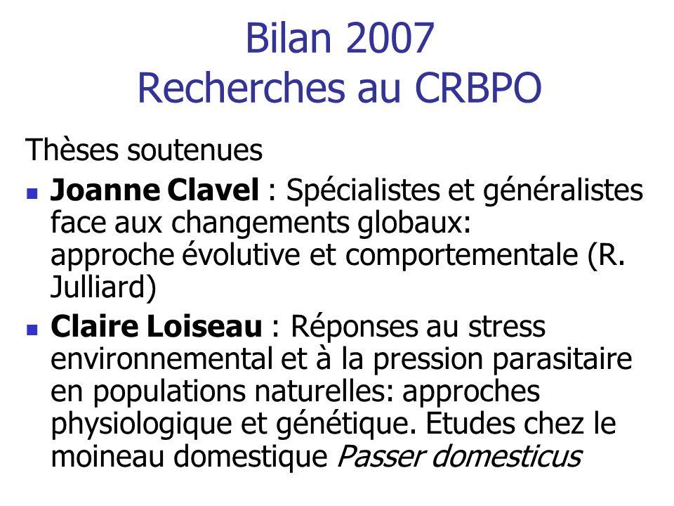 Bilan 2007 Recherches au CRBPO Thèse démarrant Jean-Pierre Moussus : Avifaune et Changement Climatique Participation à lélaboration de deux indicateurs de limpact des changements climatiques sur la Biodiversité Participation croissante à des programmes sur les parasites et pathogènes doiseaux