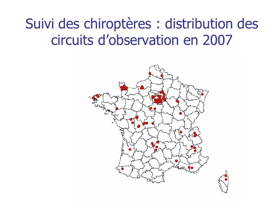 Suivi des chiroptères : distribution des circuits dobservation en 2007