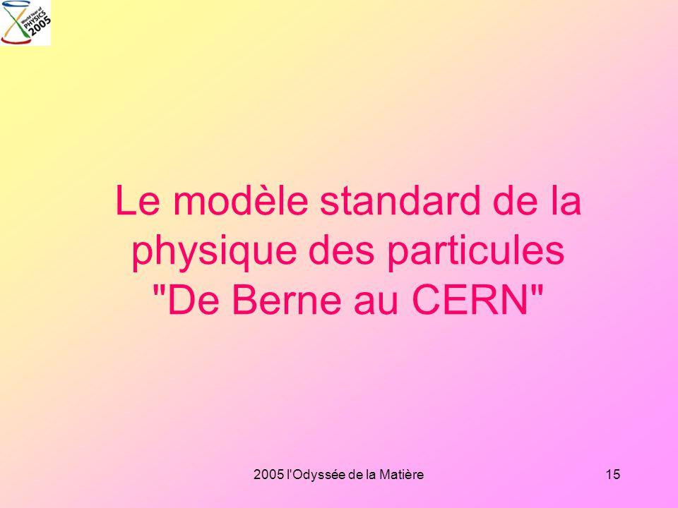 2005 l'Odyssée de la Matière14 Le big bang, le modèle standard de la cosmologie La relativité générale, base théorique de la cosmologie: l'Univers com