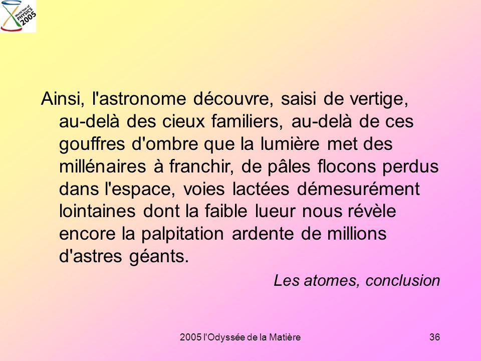 2005 l'Odyssée de la Matière35 Les atomes ne sont pas ces éléments éternels et insécables dont l'irréductible simplicité donnait au possible une borne