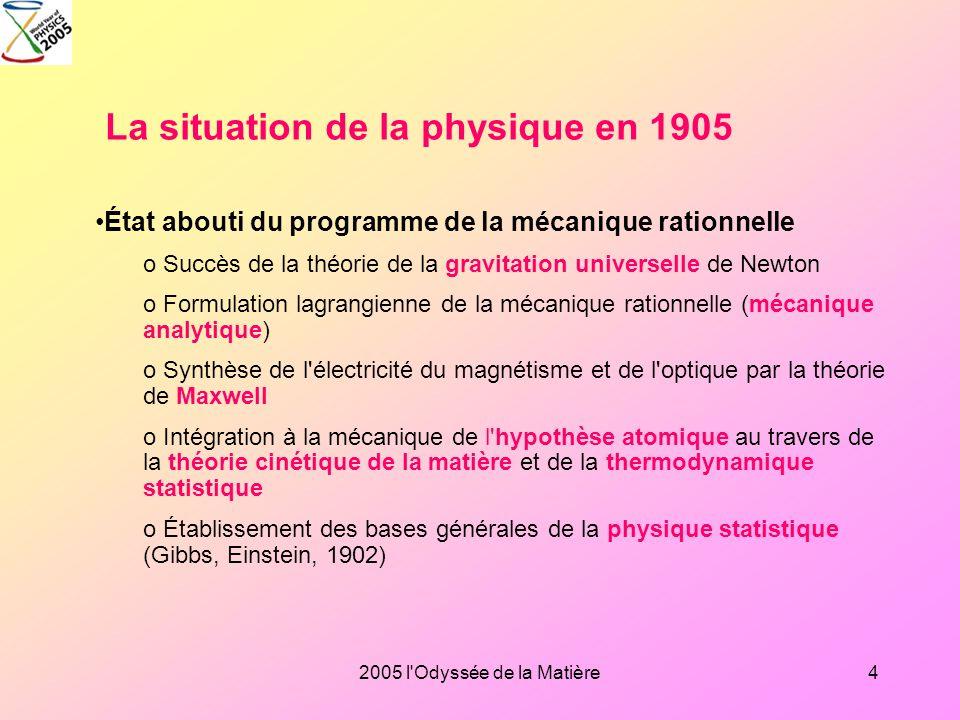 2005 l'Odyssée de la Matière3 La situation en 1905 L'odyssée de l'espace: de la relativité au big bang L'odyssée de la matière: le modèle standard, de