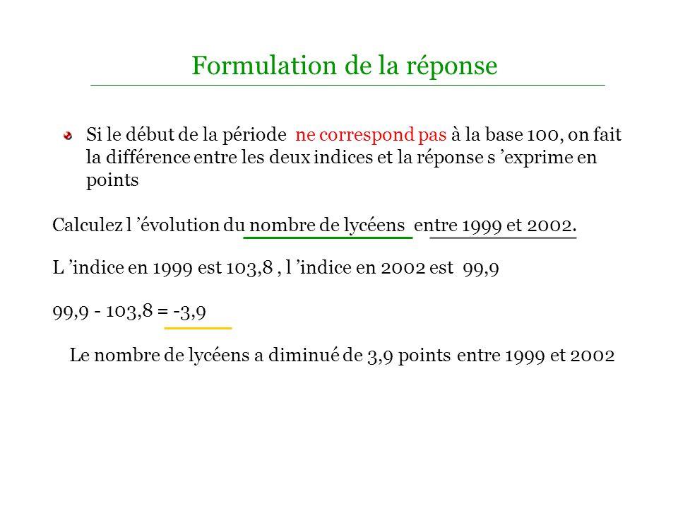 Formulation de la réponse A partir d un tableau d indices, on pourra vous demander de mesurer l évolution entre deux dates. L avantage de l indice est