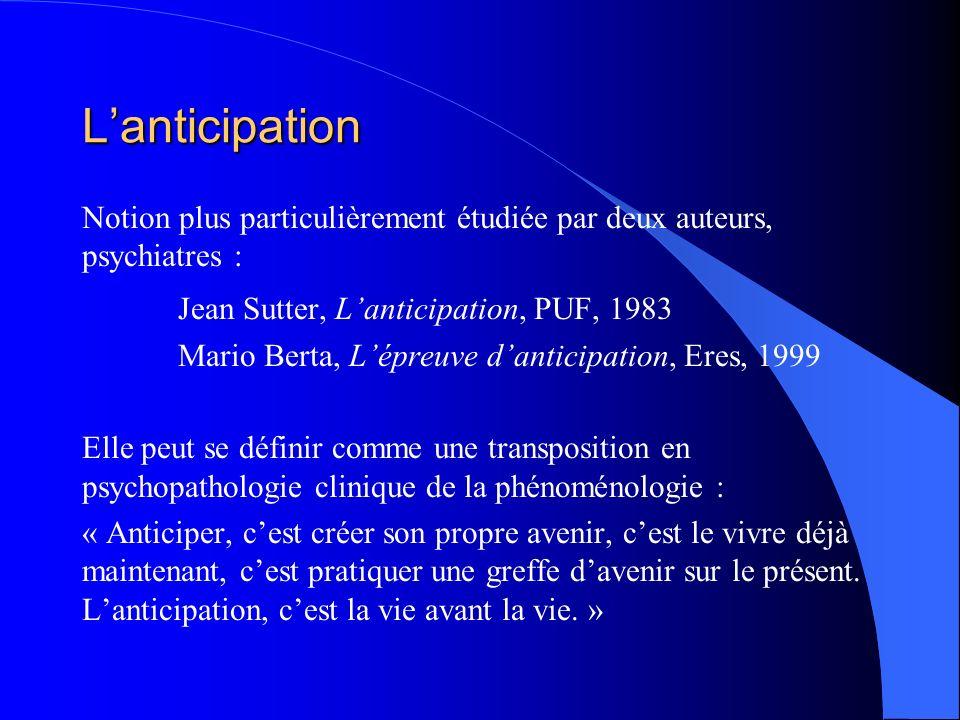 Lanticipation Notion plus particulièrement étudiée par deux auteurs, psychiatres : Jean Sutter, Lanticipation, PUF, 1983 Mario Berta, Lépreuve dantici