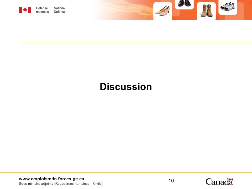 www.emploismdn.forces.gc.ca Sous-ministre adjointe (Ressources humaines - Civils) 10 Discussion
