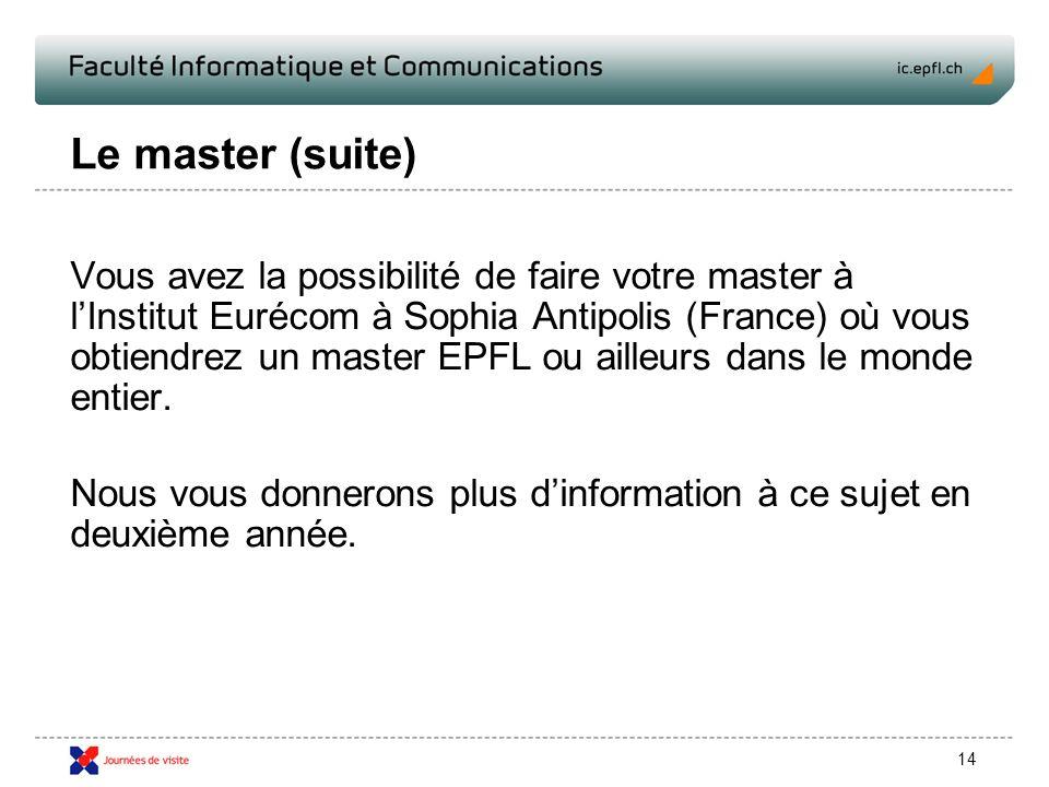 14 Le master (suite) Vous avez la possibilité de faire votre master à lInstitut Eurécom à Sophia Antipolis (France) où vous obtiendrez un master EPFL ou ailleurs dans le monde entier.