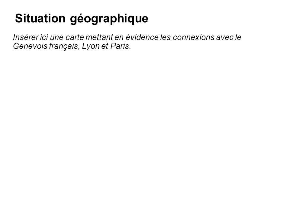 Situation géographique Insérer ici une carte mettant en évidence les connexions avec le Genevois français, Lyon et Paris.