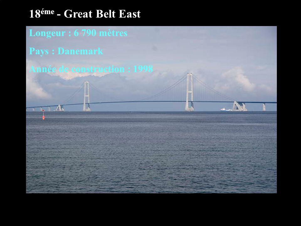 18 éme - Great Belt East Longeur : 6 790 mètres Pays : Danemark Année de construction : 1998