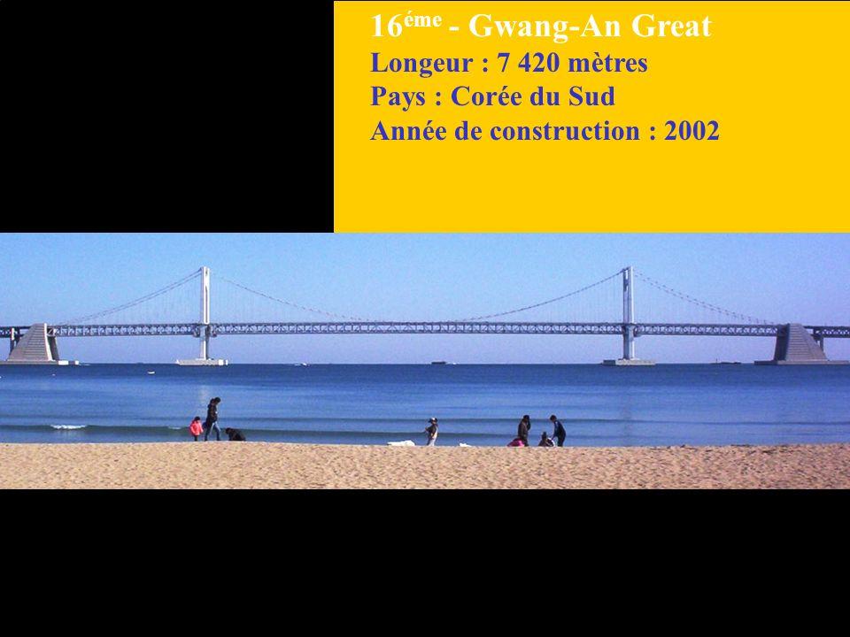 16 éme - Gwang-An Great Longeur : 7 420 mètres Pays : Corée du Sud Année de construction : 2002