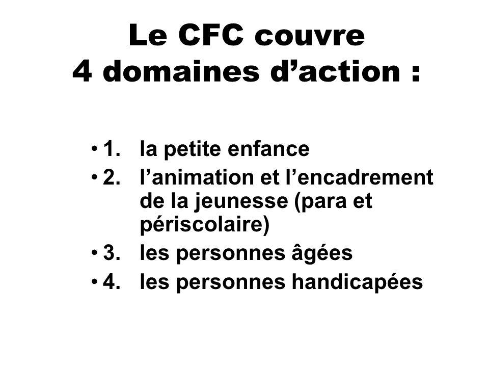 Le CFC couvre 4 domaines daction : 1.la petite enfance 2.lanimation et lencadrement de la jeunesse (para et périscolaire) 3.les personnes âgées 4.les