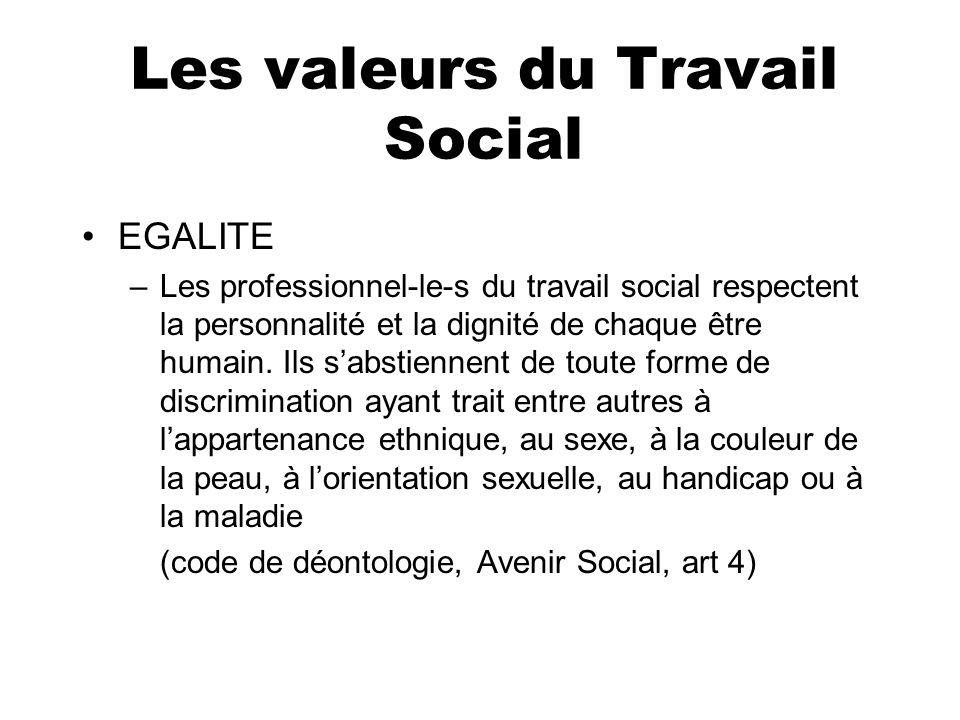 Les valeurs du Travail Social EGALITE –Les professionnel-le-s du travail social respectent la personnalité et la dignité de chaque être humain. Ils sa