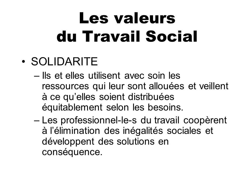 Les valeurs du Travail Social SOLIDARITE –Ils et elles utilisent avec soin les ressources qui leur sont allouées et veillent à ce quelles soient distr