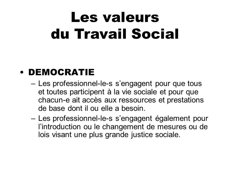 DEMOCRATIE –Les professionnel-le-s sengagent pour que tous et toutes participent à la vie sociale et pour que chacun-e ait accès aux ressources et pre
