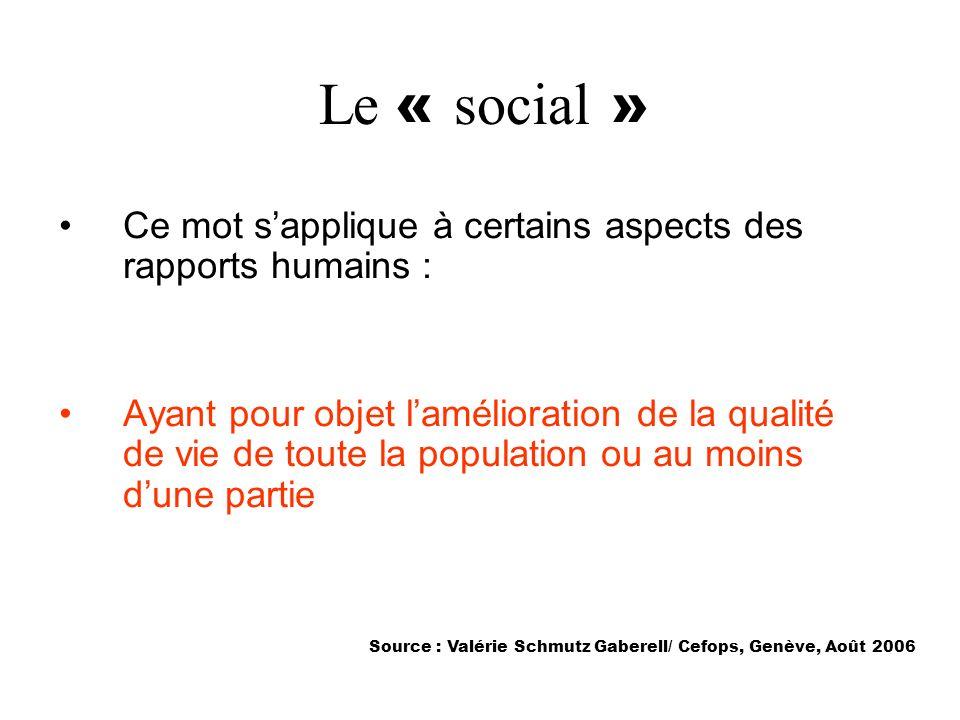 Le « social » Ce mot sapplique à certains aspects des rapports humains : Ayant pour objet lamélioration de la qualité de vie de toute la population ou