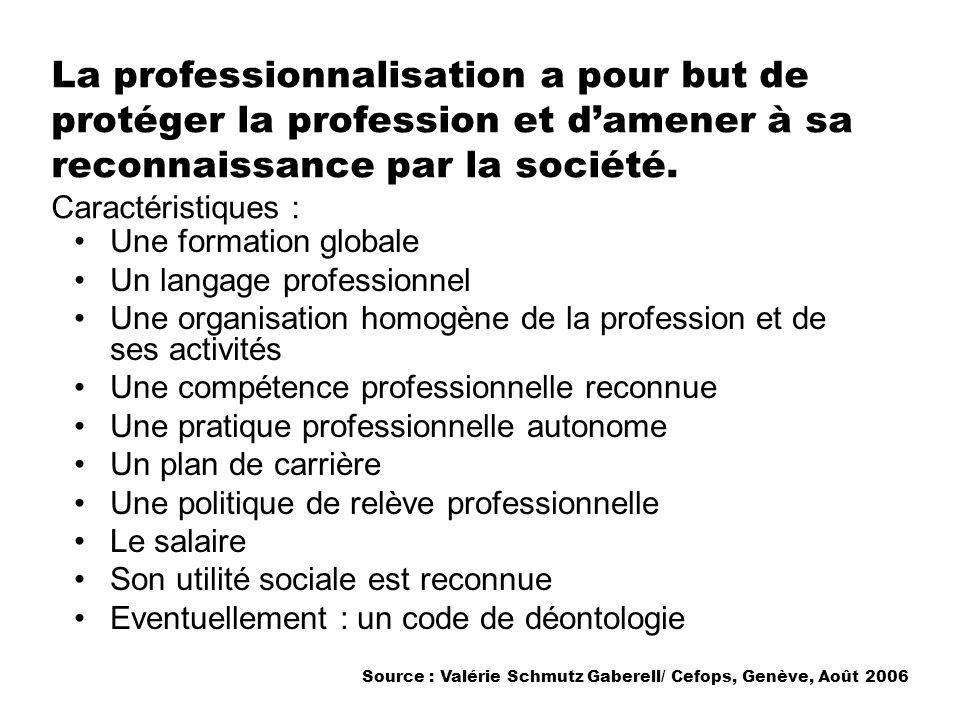 La professionnalisation a pour but de protéger la profession et damener à sa reconnaissance par la société. Caractéristiques : Une formation globale U