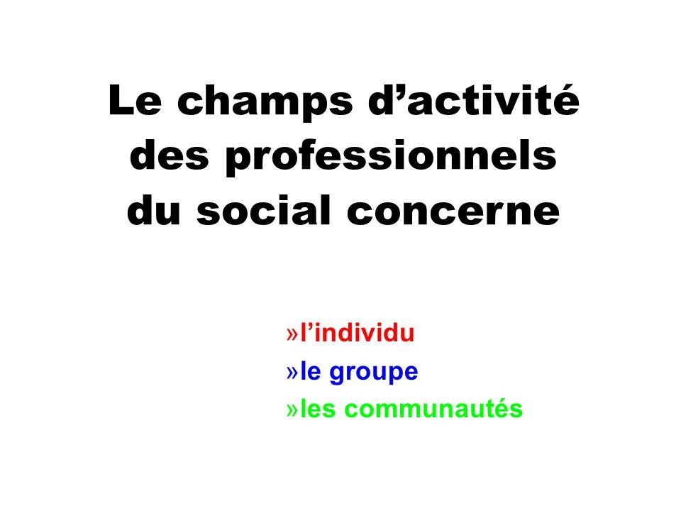Le champs dactivité des professionnels du social concerne »lindividu »le groupe »les communautés