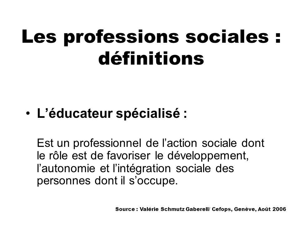Les professions sociales : définitions Léducateur spécialisé : Est un professionnel de laction sociale dont le rôle est de favoriser le développement,