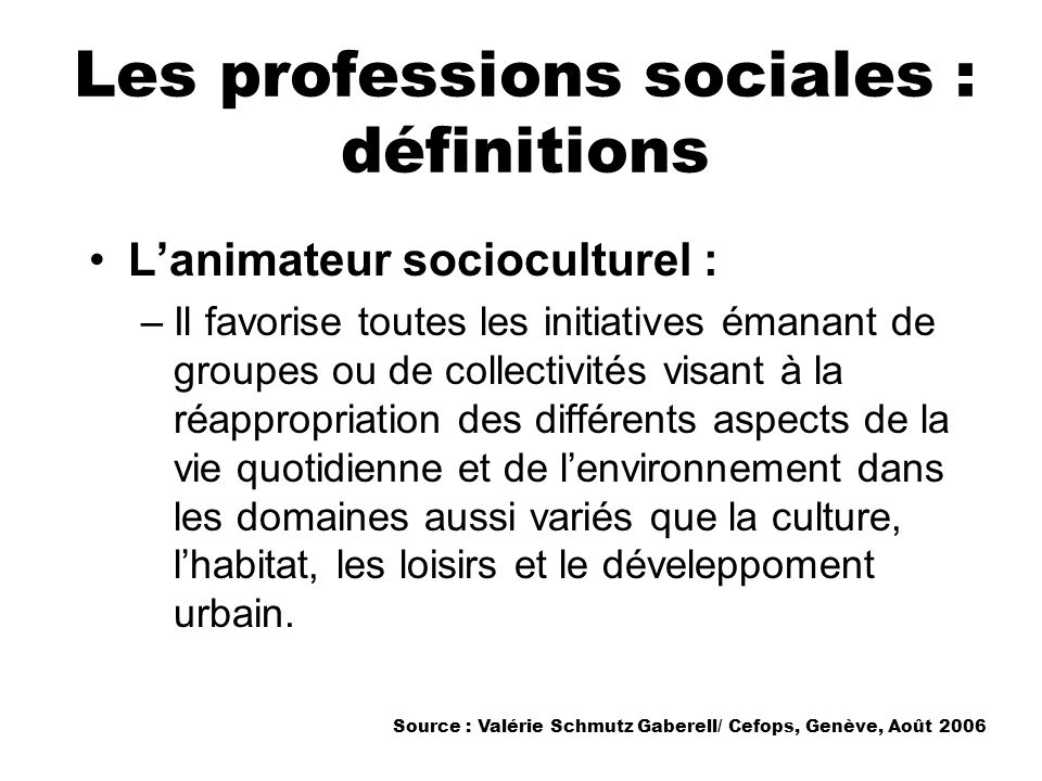 Les professions sociales : définitions Lanimateur socioculturel : –Il favorise toutes les initiatives émanant de groupes ou de collectivités visant à