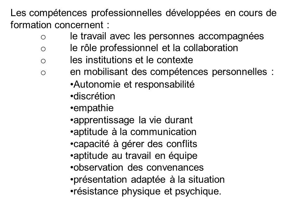 Les compétences professionnelles développées en cours de formation concernent : o le travail avec les personnes accompagnées o le rôle professionnel e
