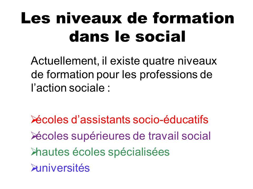 Les niveaux de formation dans le social Actuellement, il existe quatre niveaux de formation pour les professions de laction sociale : écoles dassistan