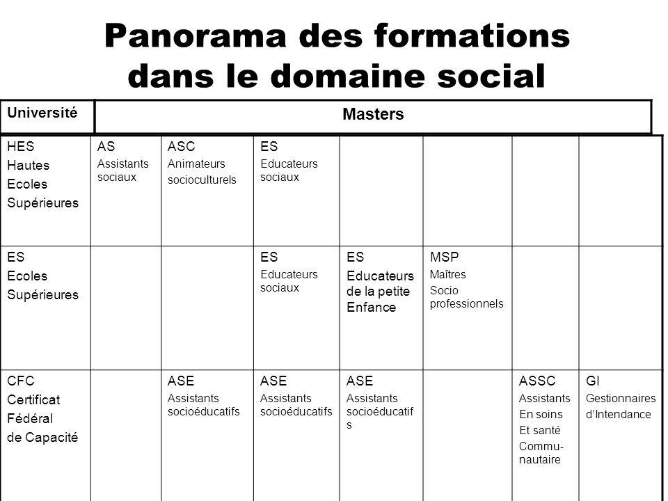 Panorama des formations dans le domaine social HES Hautes Ecoles Supérieures AS Assistants sociaux ASC Animateurs socioculturels ES Educateurs sociaux