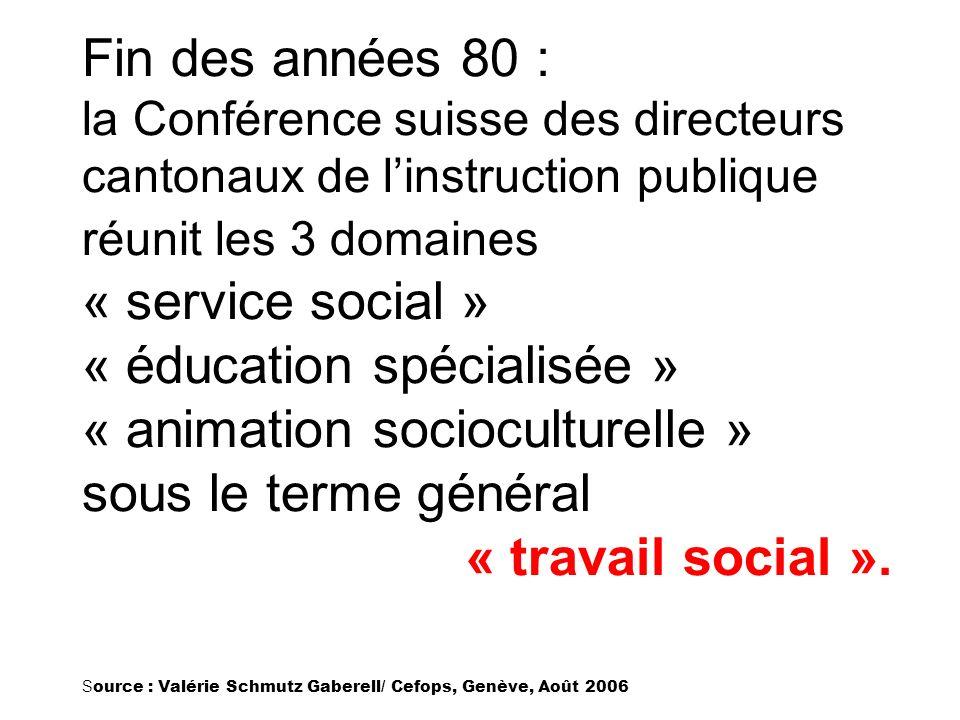 Fin des années 80 : la Conférence suisse des directeurs cantonaux de linstruction publique réunit les 3 domaines « service social » « éducation spécia