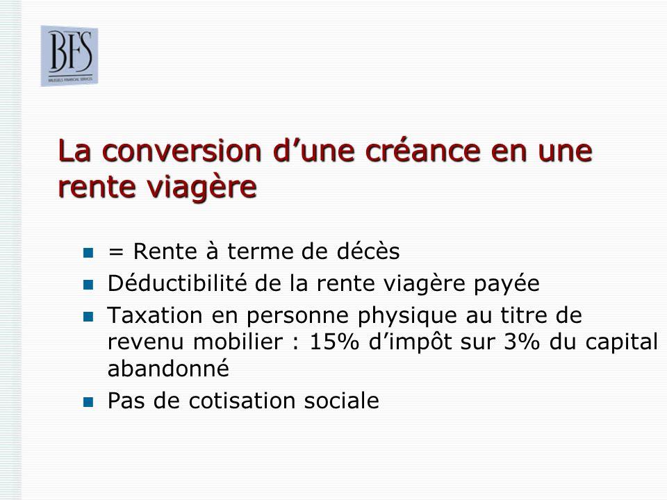 La conversion dune créance en une rente viagère = Rente à terme de décès Déductibilité de la rente viagère payée Taxation en personne physique au titr