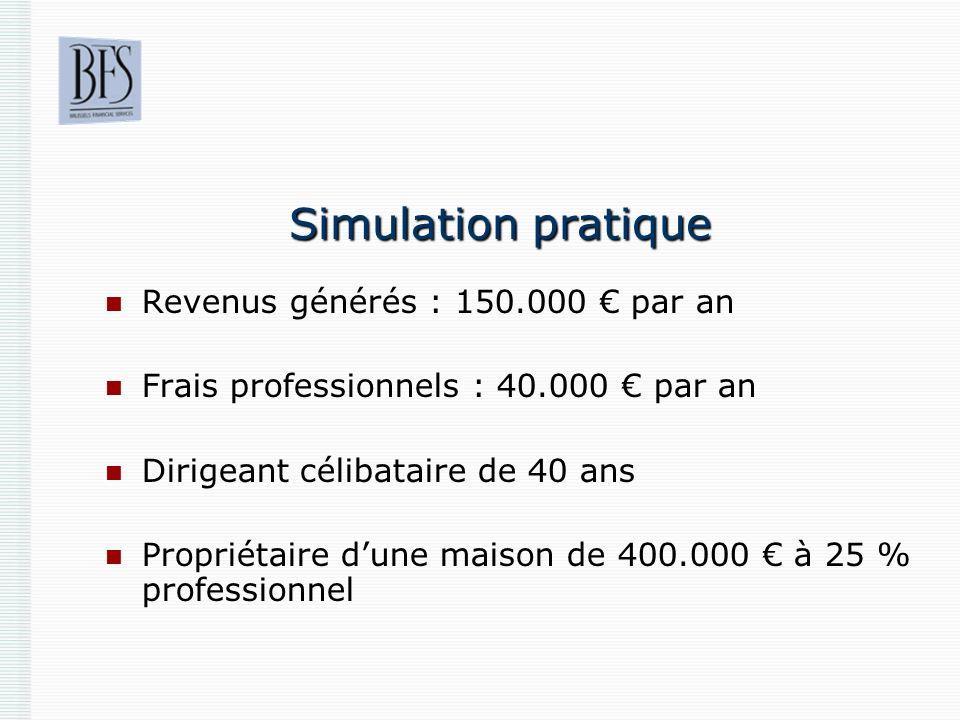 Simulation pratique Revenus générés : 150.000 par an Frais professionnels : 40.000 par an Dirigeant célibataire de 40 ans Propriétaire dune maison de