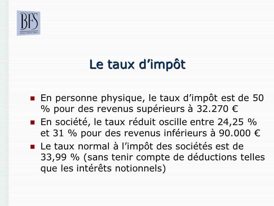 Le taux dimpôt En personne physique, le taux dimpôt est de 50 % pour des revenus supérieurs à 32.270 En société, le taux réduit oscille entre 24,25 %