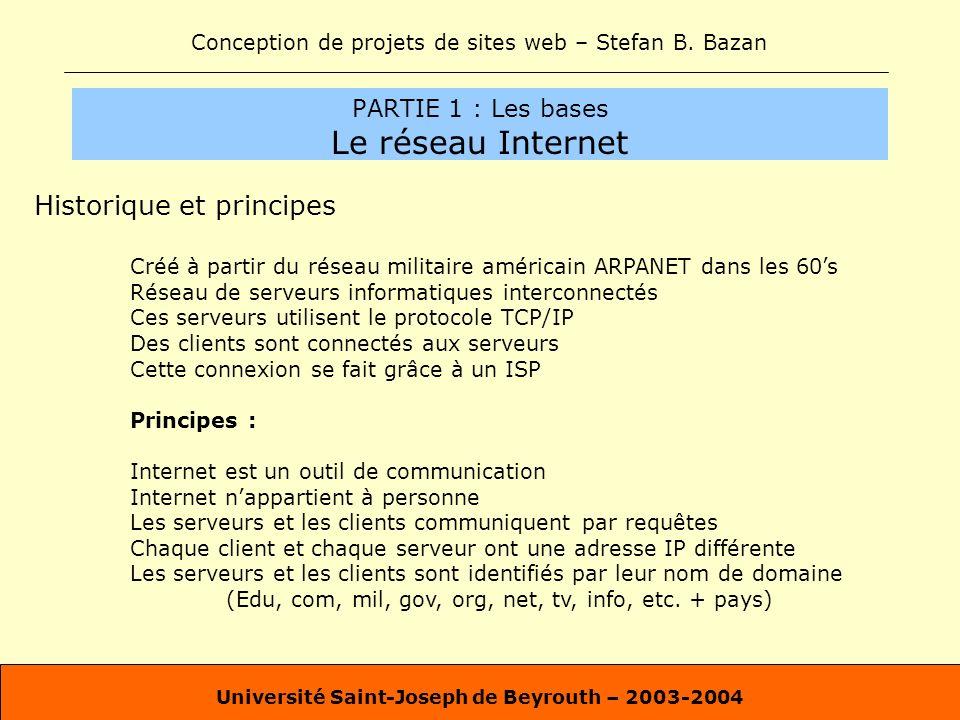 Conception de projets de sites web – Stefan B. Bazan Université Saint-Joseph de Beyrouth – 2003-2004 PARTIE 1 : Les bases Le réseau Internet Historiqu