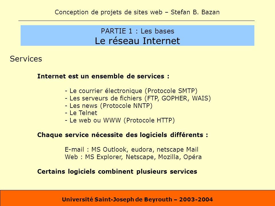 Conception de projets de sites web – Stefan B. Bazan Université Saint-Joseph de Beyrouth – 2003-2004 PARTIE 1 : Les bases Le réseau Internet Services