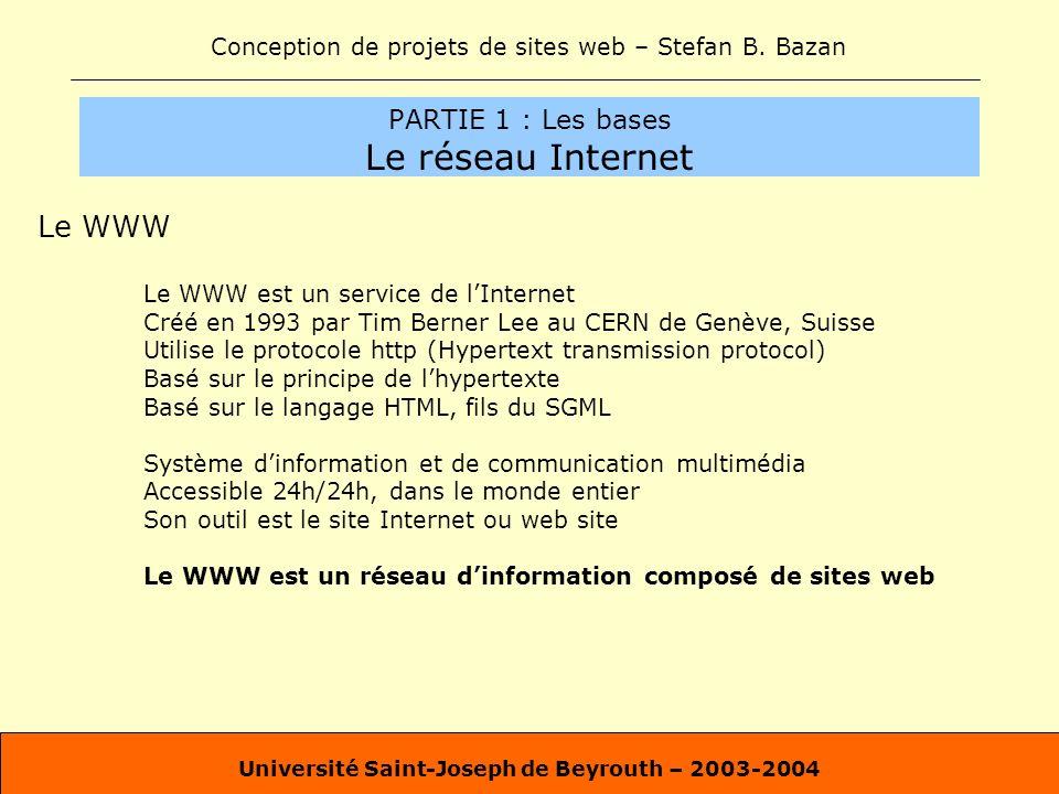 Conception de projets de sites web – Stefan B. Bazan Université Saint-Joseph de Beyrouth – 2003-2004 PARTIE 1 : Les bases Le réseau Internet Le WWW Le